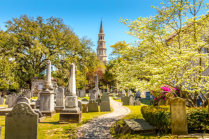 Oldest congregation in Charleston, John C. Calhoun, 2 time VP buried here, Christopher Gadsen, William Rhett, Charles Pinckney and Edward Rutledge buried here, Four-degree tilt due to earthquake of 1886